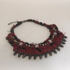 ZARA Leather and Chain Collar Statement Necklace